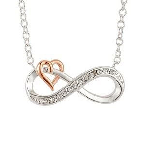 Brilliance Infinity & Heart Two Tone Necklace with Swarovski Crystals