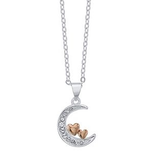Brilliance Moon & Heart Necklace with Swarovski Crystals
