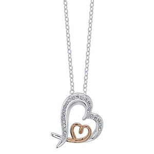 Brilliance Double Heart Two Tone Necklace with Swarovski Crystal