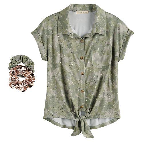 Girls 7-16 Self Esteem Knot Hem Camp Shirt