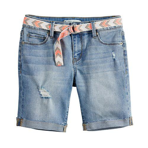 Girls 7-16 & Plus Size Mudd® Belted Denim Bermuda Shorts