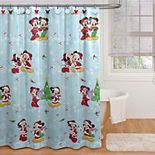Disney Mickey Mouse & Minnie Mouse Magic Shower Curtain & Hooks Set