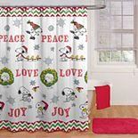 Peanuts Peace Love Joy Shower Curtain & Hooks Set