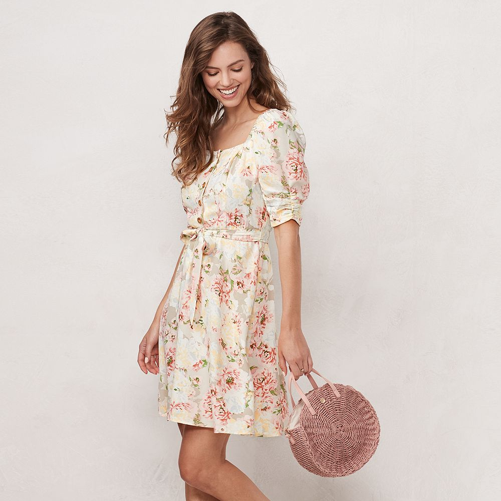 Women's LC Lauren Conrad Button Front Puff Sleeve Dress