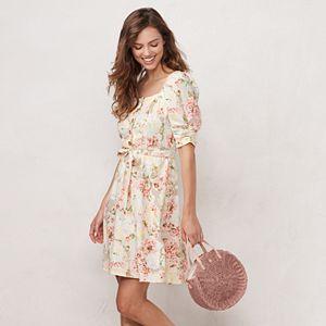 Women's LC Lauren Conrad Button Front Puff Sleeve Dress