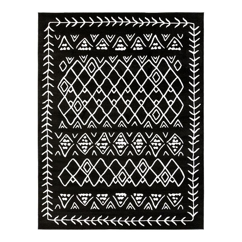 Decor 140 Sage Border Rug, Black, 6.5X9.5 Ft