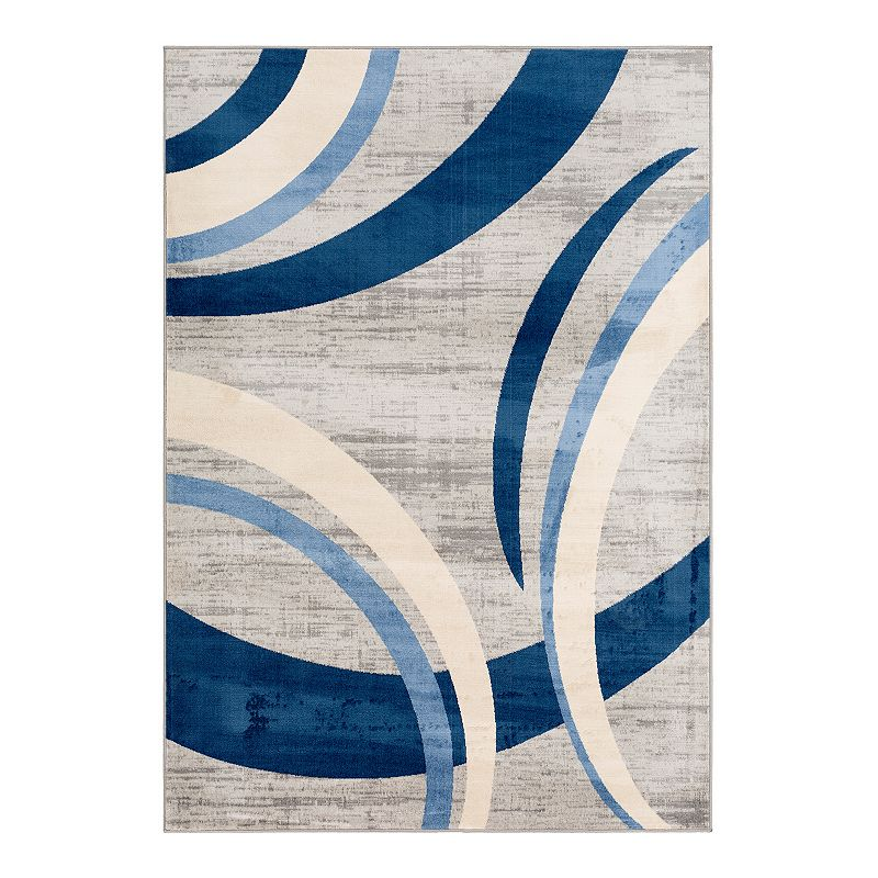 Decor 140 Wings Abstract Rug, Blue, 2X3 Ft