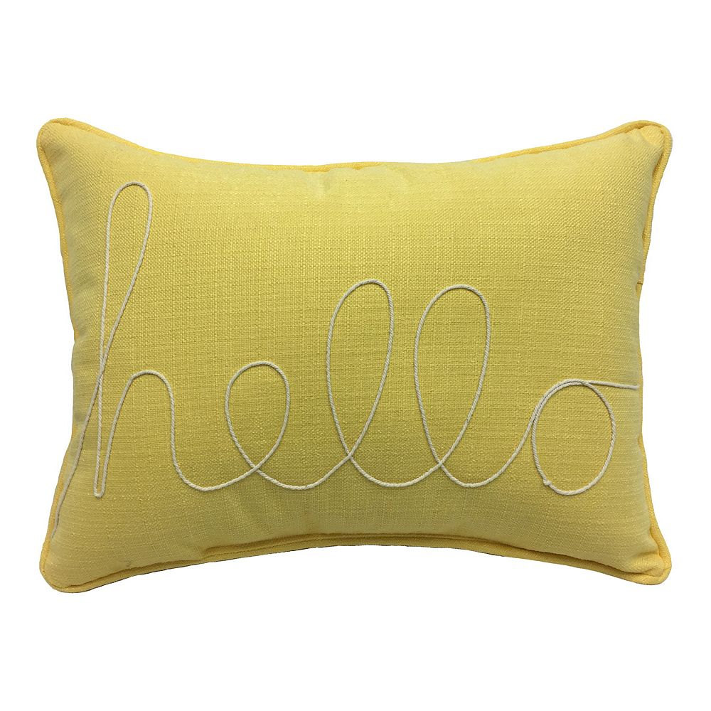 """HFI Yellow """"Hello"""" Rope Embroidered Pillow"""