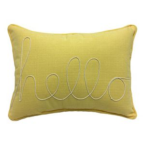 "HFI Yellow ""Hello"" Rope Embroidered Pillow"