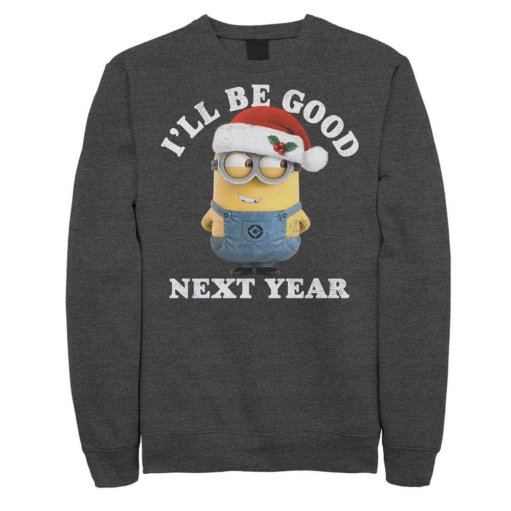 Men's Despicable Me Minions Be Good Next Year Santa Hat Sweatshirt
