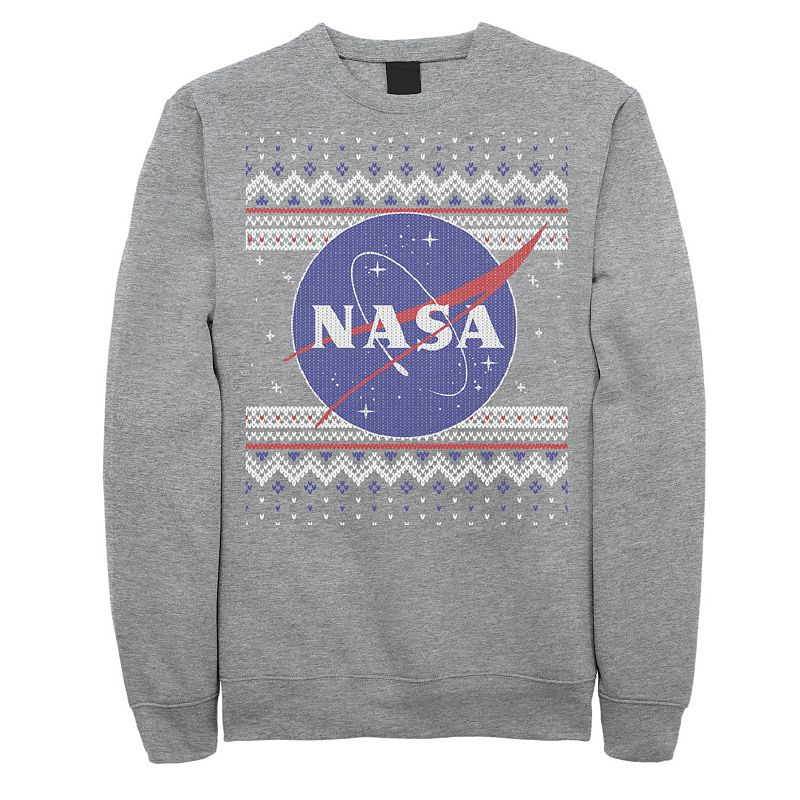 Launch your holiday style into orbit with this men\\\'s NASA tee. Launch your holiday style into orbit with this men\\\'s NASA tee. Crewneck Long sleeves FABRIC & CARE Cotton, polyester Machine wash Imported Color: Grey. Gender: male. Age Group: adult. Pattern: Graphic. Material: Fleece.