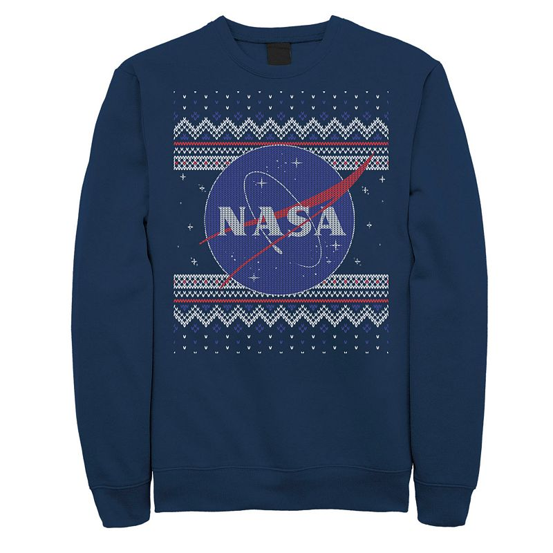 Launch your holiday style into orbit with this men\\\'s NASA tee. Launch your holiday style into orbit with this men\\\'s NASA tee. Crewneck Long sleeves FABRIC & CARE Cotton, polyester Machine wash Imported Color: Navy. Gender: male. Age Group: adult. Pattern: Graphic. Material: Fleece.