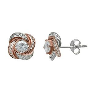 PRIMROSE Two-Tone 18k Rose Gold over Sterling Silver Cubic Zirconia Love Knot Stud Earrings