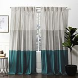 Exclusive Home 2-pack Chateau Striped Faux Silk Pinch Pleat Window Curtains
