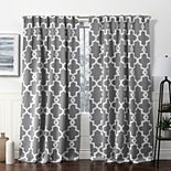 Exclusive Home 2-pack Ironwork Sateen Woven Blackout Hidden Tab Top Window Curtains