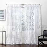 Exclusive Home 2-pack Rio Burnout Sheer Hidden Tab Top Window Curtains