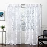 Exclusive Home 2-pack Rio Burnout Sheer Pinch Pleat Window Curtains