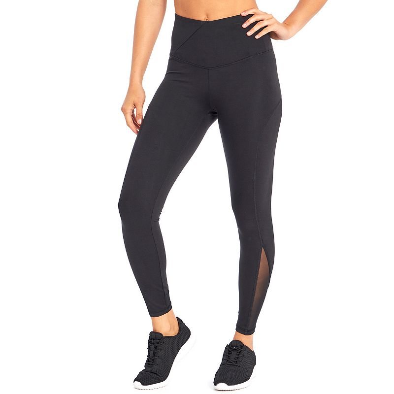 Let your fitness fashionista style show with these women\\\'s leggings from Marika. Let your fitness fashionista style show with these women\\\'s leggings from Marika. Mesh panel insets Gusset liner Jersey construction Tag free FIT & SIZING 27-in. inseam Compressive fit Foldover waistband FABRIC & CARE Polyester, spandex Machine wash Imported Size: Large. Color: Black. Gender: female. Age Group: adult.