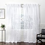 Exclusive Home 2-pack Wilshire Burnout Sheer Pinch Pleat Window Curtains