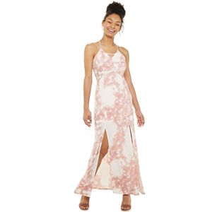 Juniors' Candie's Halter Maxi Dress With Cut Out