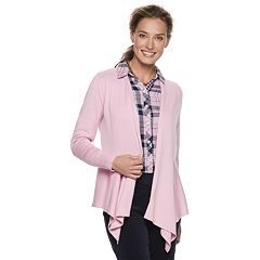 Croft /& Barrow The Extra Cozy Cardigan Crewneck Sweater Barely Pink Button Up