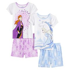 Disney Frozen Queen Elsa Girl Pajama Shorts Set Size 8 Purple Multi