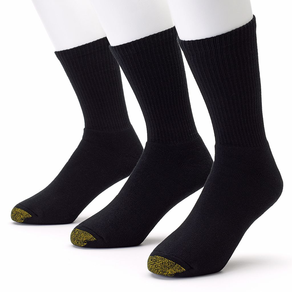 Men's GOLDTOE 3-pk. Black Uptown Crew Socks
