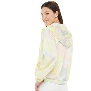 Juniors' Pink Republic Long Sleeve Hooded Windbreaker Jacket