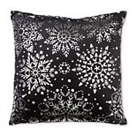 Silver Snowflakes Toss Pillow