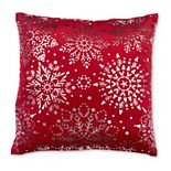 Red/Silver Snowflakes Toss Pillow