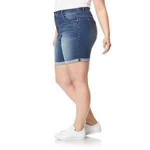 Juniors' Plus Size WallFlower High-Rise Insta-Soft Irresistible Mid-Length Shorts