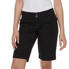 Women/'s Juniors UNIONBAY Blanche Bermuda White Shorts Stretch Flat Front Size 1