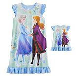 Disney's Frozen 2 Elsa and Anna Girls 4-8 Dorm Nightgown and Matching Doll Gown