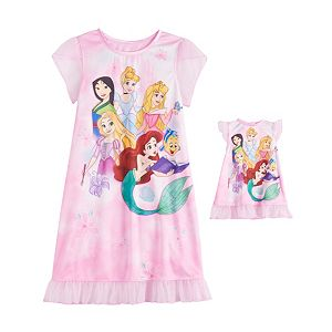 Disney Princess Girls 4-8 Dorm Nightgown & Matching Doll Gown