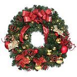 National Tree Company 30'' Home Spun Wreath with Clear Lights