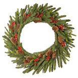 National Tree Company 24'' Dorchester Fir Wreath with Battery Operated LED Lights