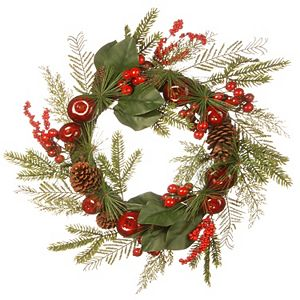National Tree Company 24'' Magnolia and Apple Decorated Wreath