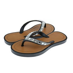 Girls Elli by Capelli Opaque Gem Trim Fashion Flip Flops