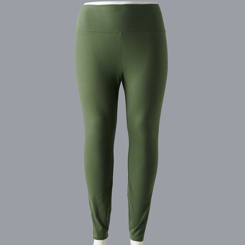 Plus Size Simply Vera Vera Wang Live-In High Rise Legging. Women's. Size: 1XL. Med Green