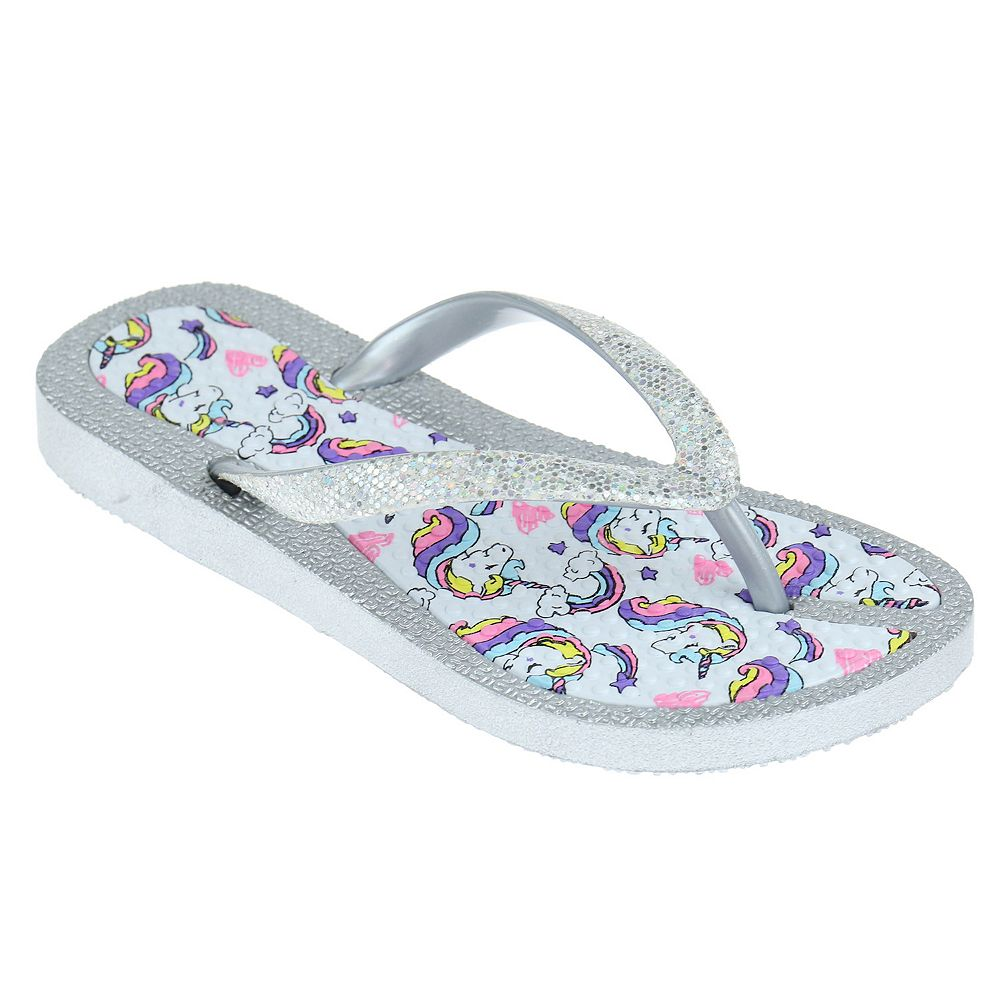 Girls Elli by Capelli Disco Dot Unicorn Flexy Fit Flip Flops