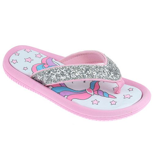 Girls Elli by Capelli Disco Dot Unicorn Foam Flip Flops