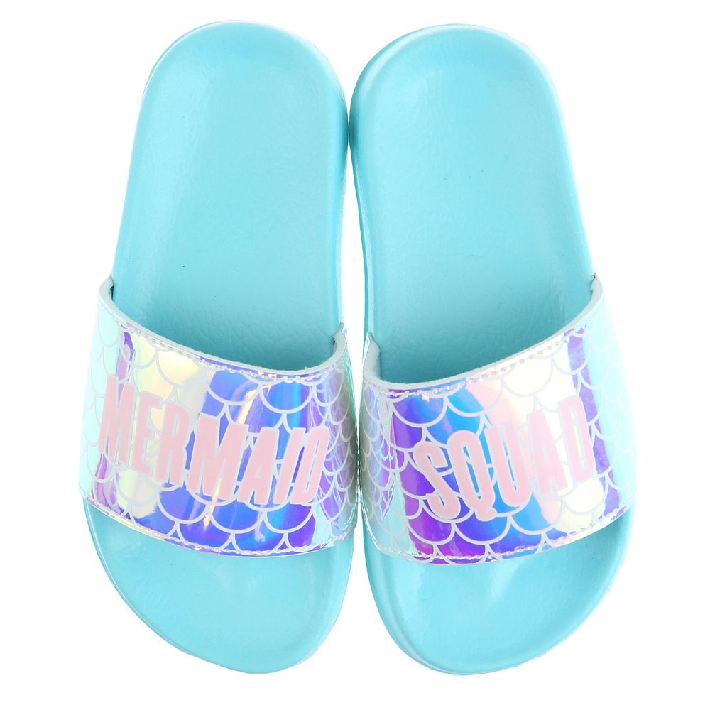 Girls Elli by Capelli Holographic Mermaid Squad Slide Sandals