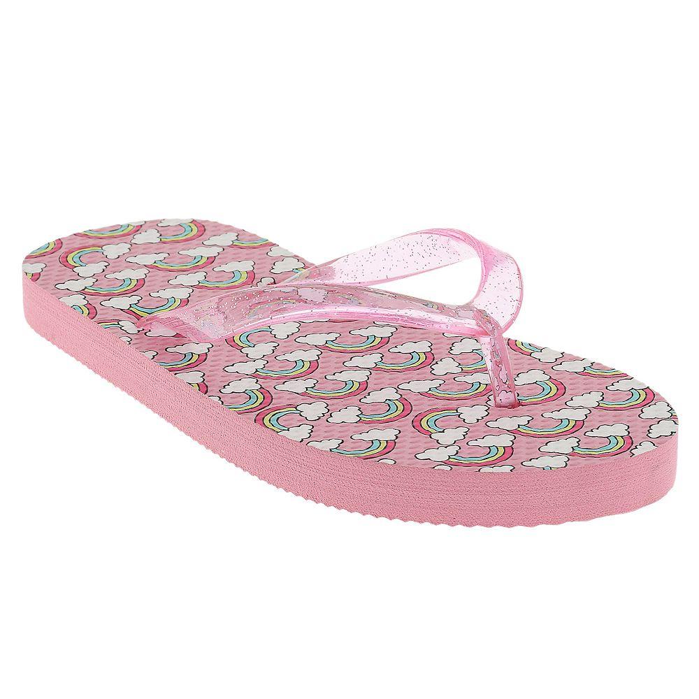 Girls Elli by Capelli Clear Glitter Upper Flip Flops
