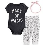 Baby Girl Jumping Beans® Graphic Bodysuit, Leggings & Headband Set
