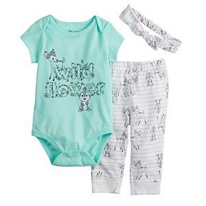 Disney's Bambi Baby Girl Bodysuit, Pants & Headband Set by Jumping Beans®