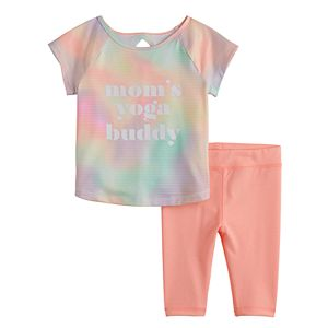 Baby Girl Jumping Beans® Active Raglan Tee & Capri Leggings Set