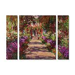 Trademark Fine Art 'A Pathway in Monet's Garden' Multi Panel Art Set