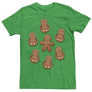 Men's Star Wars Chewie Porg Gingerbread Cookies Christmas Graphic Tee