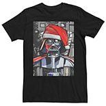 Men's Star Wars Darth Vader Santa Hat Christmas Painting Poster Tee