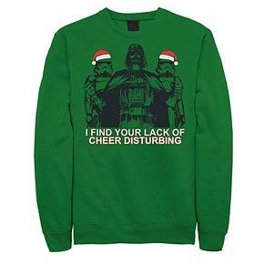 Men's Star Wars Vader Santa Troopers Cheer Lack Christmas Graphic Fleece Pullover